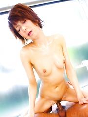 Miriya Hazuki Asian sucks dick and is fingered till urinates