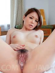 China Mimura Asian rubs penis between labia before riding it all
