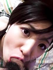 Ichigo Asian gal puts saliva on dick heand and vibrator on clit