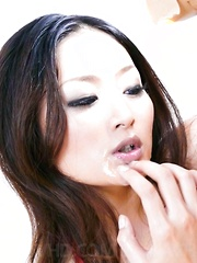 Airi Ai Asian with fine tits gets cum from sucking two dongs