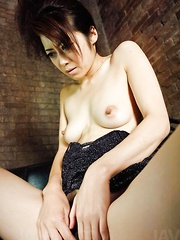 Maki Hojo Asian fondles her pussy with cum in mouth after blowjob