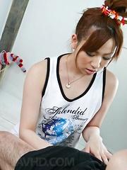 Yukina Momose Asian licks dick and rubs it between feet and boobs