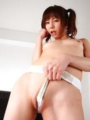 Super hot gal Hikaru Aoyama showing her cunt