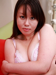 Hot Asian brunette gal with natural titties