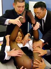 Nasty office slut Nao loves rough group sex