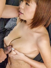 Airu Oshima has big tits rubbed and hairy twat fucked by dong