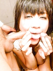 Kyoka Mizusawa gets cum in mouth and on fingers and plays with it