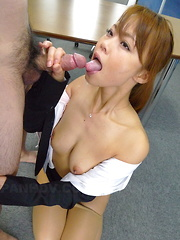 Hot Japanese office lady Saki gets two dicks