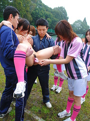 Soccer slut enjoys sexy pussy stimulation