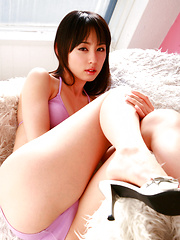 Rina Akiyama Asian with sexy legs looks hot in mauve bath suit