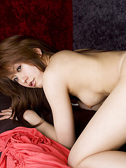Rin Hitomi Asian shows nasty ass and spoils fresh tits with water