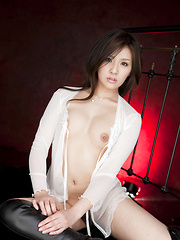 Rinka Aiuchi Asian shows big nude jugs and slit with haircut