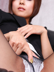 Miho Kotosaki Asian in office suit shows sexy legs in stockings