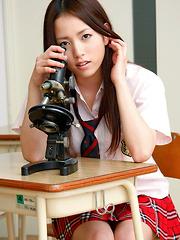 Nanami Kuroki Asian in sexy school uniform is naughty in class